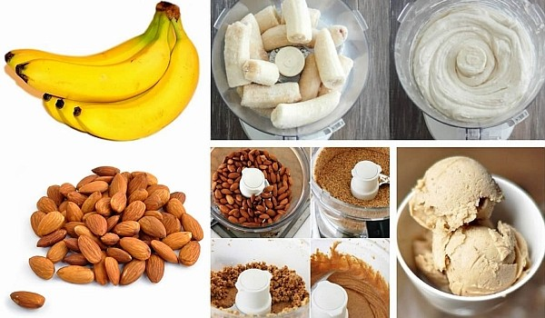 Această îngheţată pe lângă faptul că se prepară rapid, este naturală şi absolut delicioasă, conţine doar 2 ingrediente: banane şi migdale.